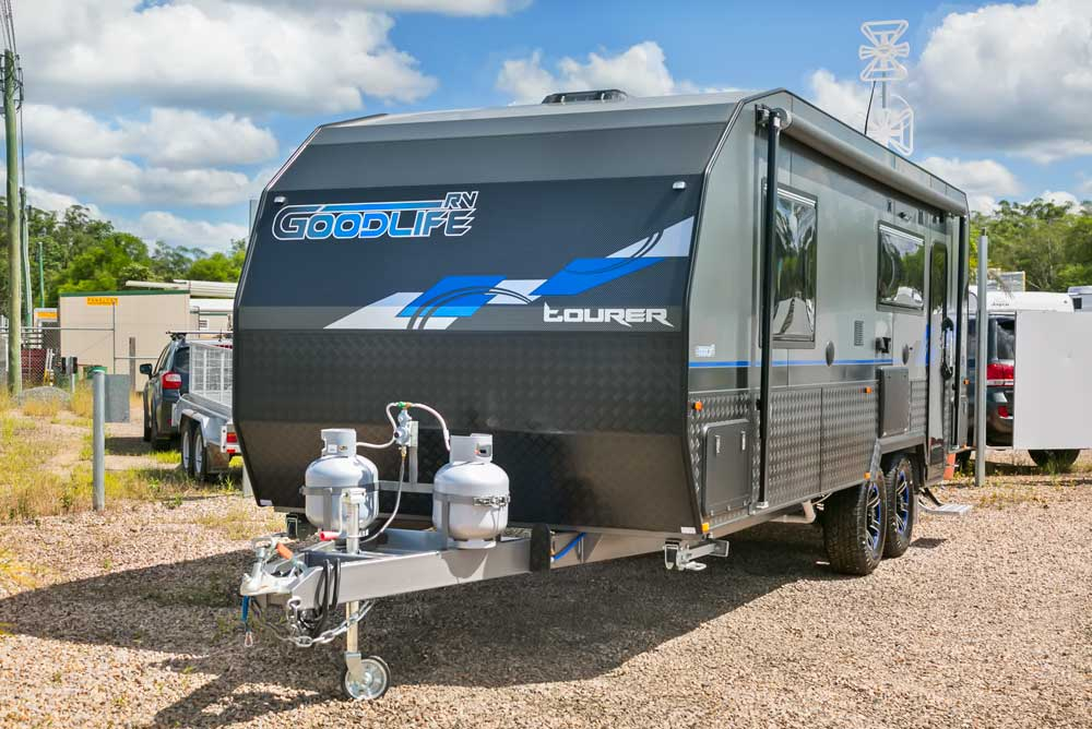 Goodlife RV Exterior Photo - Front Angle Blue Van