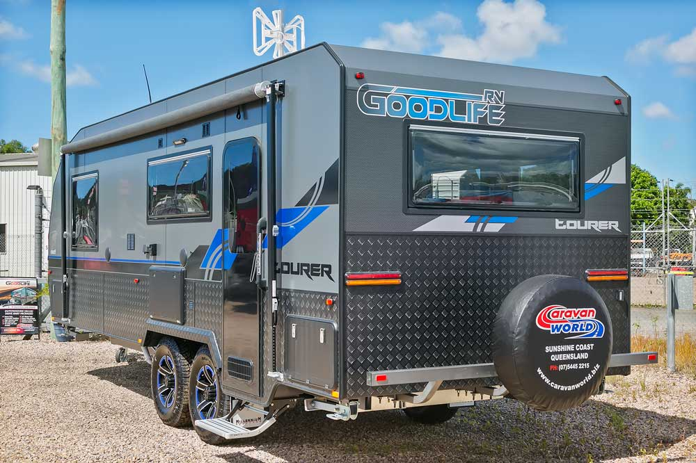 Goodlife RV Exterior Photo - Back Angle Blue Van