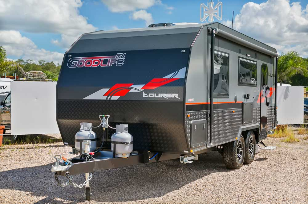 Goodlife RV Exterior Photo - Front Angle Red Van