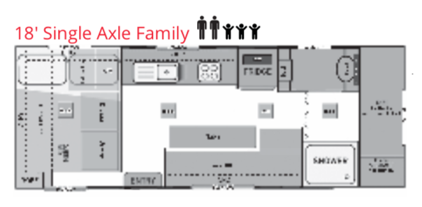 Goodlife RV - Caravan Layouts - 18' Single Axle Family