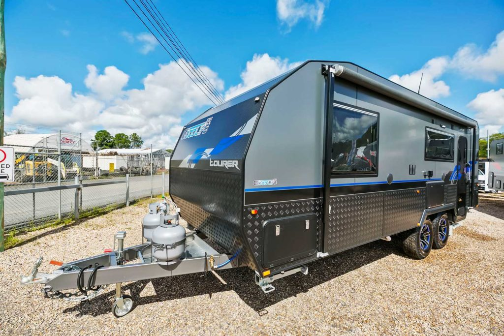 Goodlife RV Front On Angle Blue Tourer Caravan