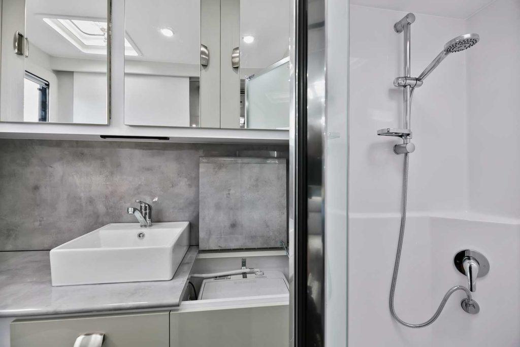 Close up Shower and sink Goodlife RV Caravan